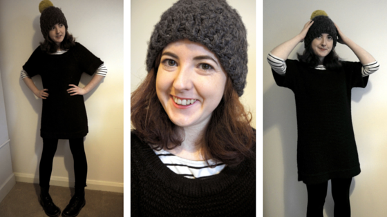 BLACK KNITTED DRESS AND STRIPED TOP - a day at a time